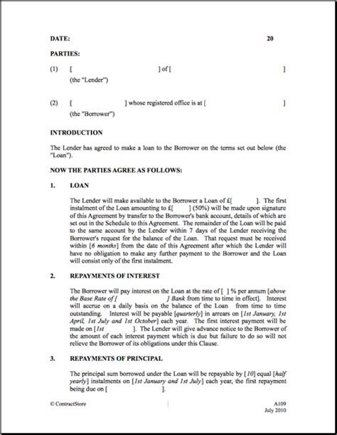 term loan agreement template free printable loan contract template form generic