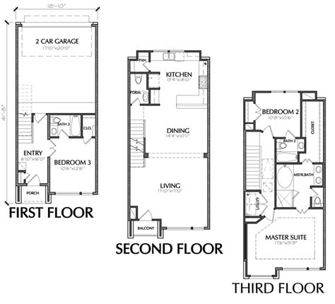 3 Bedroom Townhouse Plans by 3 Story Townhouse Floor Plan For Sale In Houston