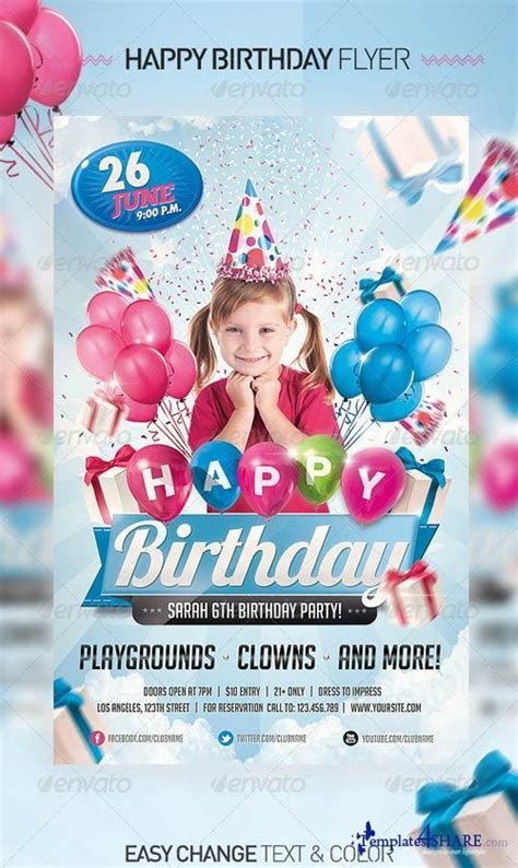 birthday invitation templates photoshop graphicriver birthday invitation flyer