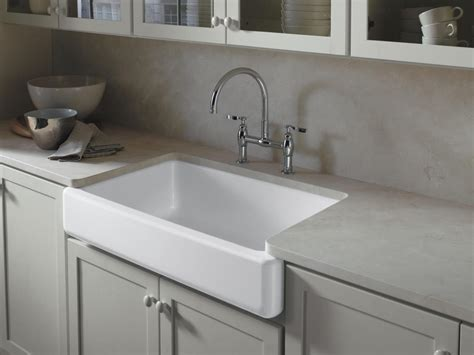 White Farmhouse Kitchen Sink And Gray Countertop This Farm Style Kitchen Sink