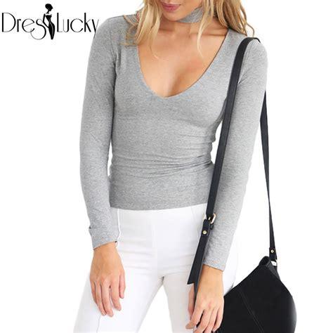 White Sleeved V Neck Shirt 1 choker v neck halter t shirt top fashion slim white t shirt zipper sleeve