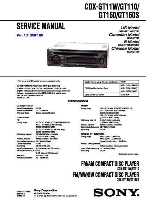 sony cdx gt110 wiring diagram 29 wiring diagram images