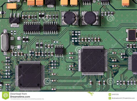integrated circuits in computer integrated circuit board royalty free stock photo image 34337235