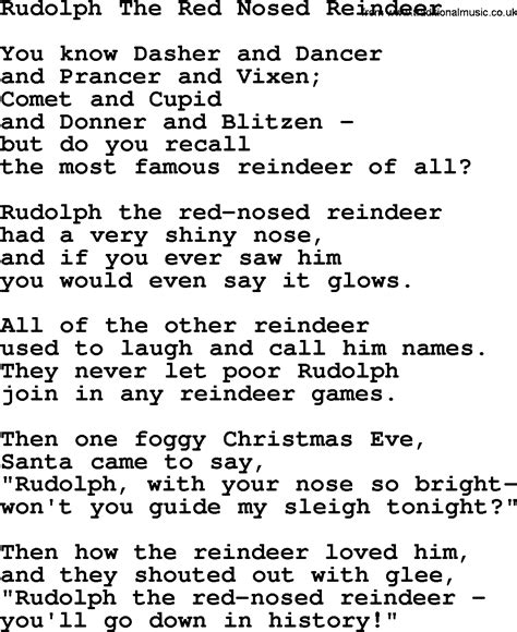 printable lyrics to rudolph the red nosed reindeer catholic hymns song rudolph the red nosed reindeer