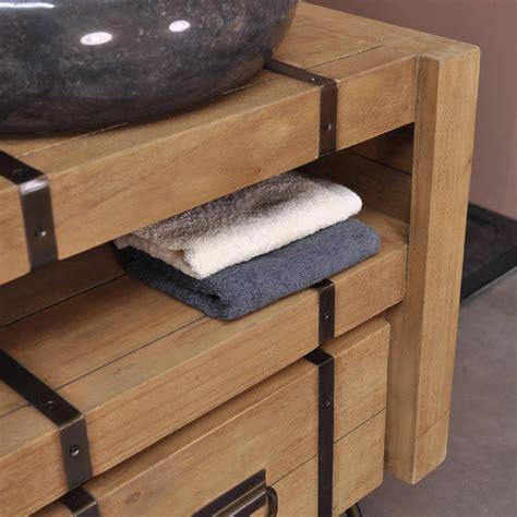 meuble salle de bain metal meuble sous vasque simple vasque en bois mindi massif et m 233 tal loft rectangle naturel l
