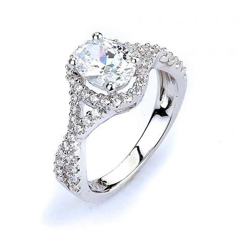 oval cz halo engagement ring twisted split shank wedding