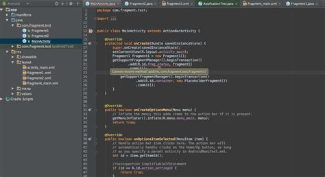 android studio r layout activity main error android fragement replace stack overflow