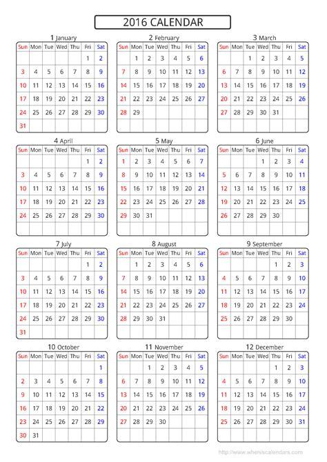 calendar 2016 template printable pdf image 10 templates
