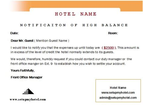 Credit Balance Refund Letter How To Handle Guest With High Balance Floor Limit