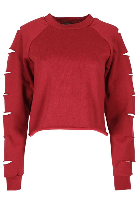 Cut Out Sweatshirt womens sweatshirt lazer cut out ripped fleece knit