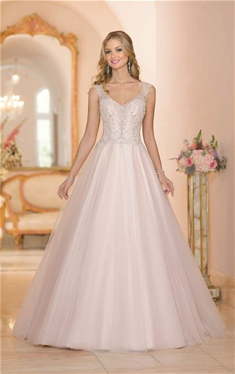 ball gown cap sleeve blush tulle embroidery beaded