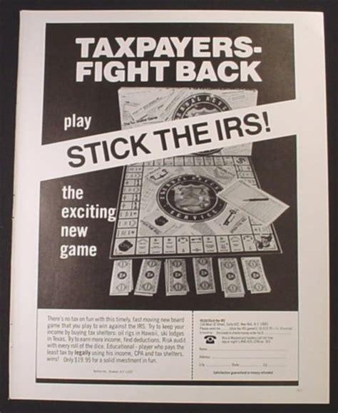 stick and board book books magazine ad for stick the irs board 1982 magazines