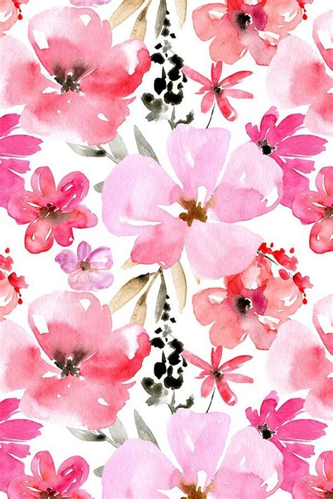 Wallpaper Stiker Motif Colour Pink Flower 1 and pink watercolor flowers by peachbloom