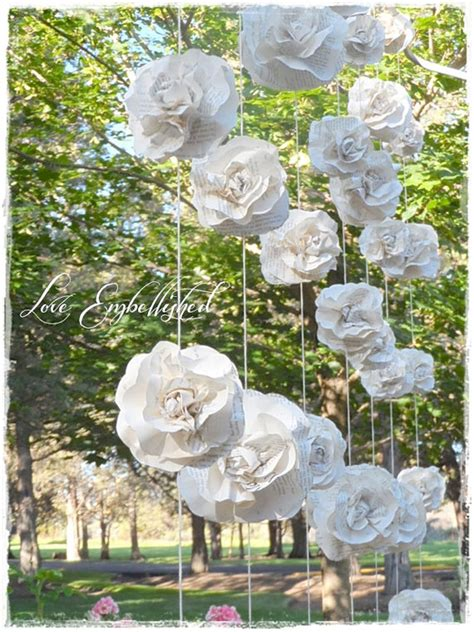 paper flower curtain curtain of 7 garlands vintage book page paper flower roses