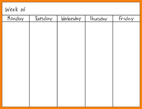 monday through friday calendar template 7 monday through friday calendar daily log sheet