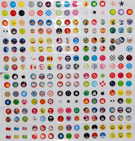 Home Button Iphone Tombol Stiker Glossy brand new 12 pieces pack rubber home button sticker fit fot iphone 3s 4s 5 5s 5c 6