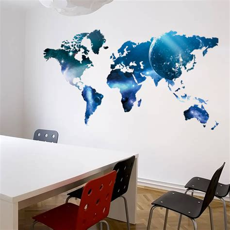 space wall stickers world map space wall sticker