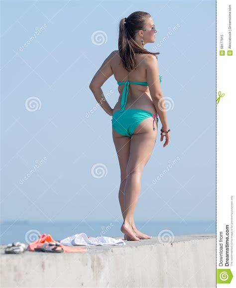 little girls swimwear bikinis rear view girl at the sea stock image image of heavy back