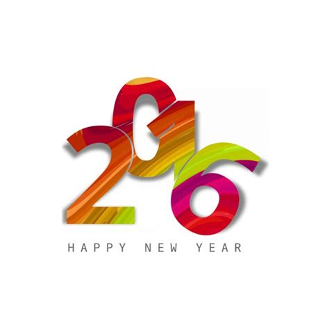 colorful text of new year 2016 vector free download