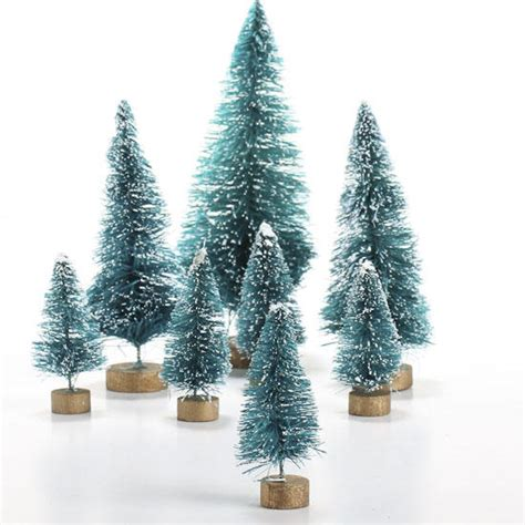 bottle brush christmas trees wholesale assorted frosted green bottle brush trees miniatures and winter
