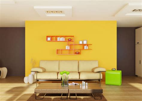 Yellow Living Room Brown Furniture Yellow Background Wall Wood Flooring For The Living Room