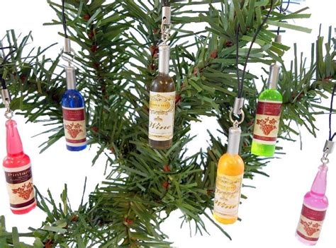wine bottle christmas tree ornaments colorful set of 6