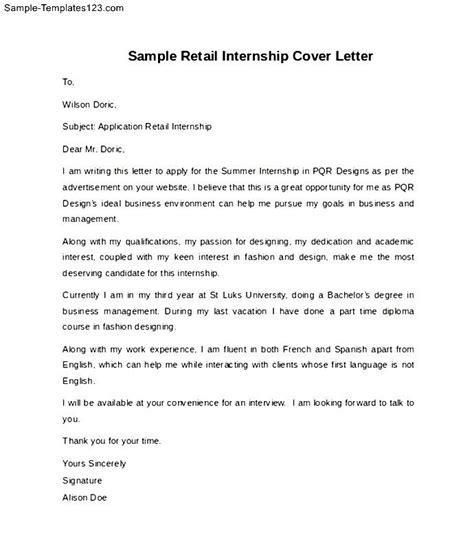 cover letter for retail internship sle retail internship cover letter sle templates