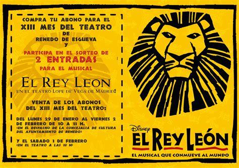 el rey leon entradas musical 187 sorteo para el musical el rey le 243 n en madrid