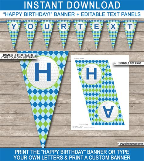 golf party banner template happy birthday banner