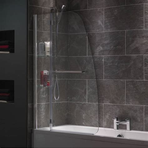 bath and shower screen mode luxury 8mm hinged shower bath screen with glass shelves and rail victoriaplum