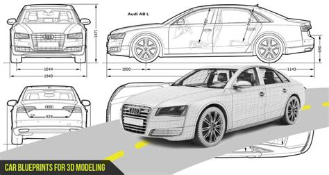 most loved hd car blueprints for 3d modeling for free