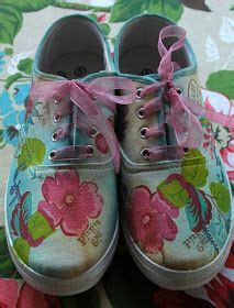 Decoupage Canvas Shoes - decoupage paper napkins and napkins on