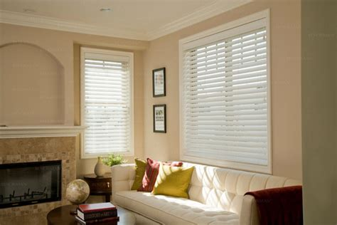 Living Room With White Wood Blinds Norman Ultimate 2 Quot Faux Wood Blinds Contemporary