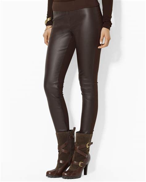 brown faux leather lyst ralph lauren lauren faux leather leggings in brown