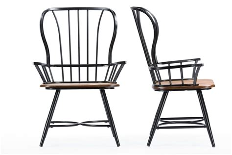 Baxton Studio Longford Quot Dark Walnut Quot Wood And Black Metal Vintage Industrial Dining Chairs