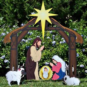 holy night complete printed nativity set outdoor