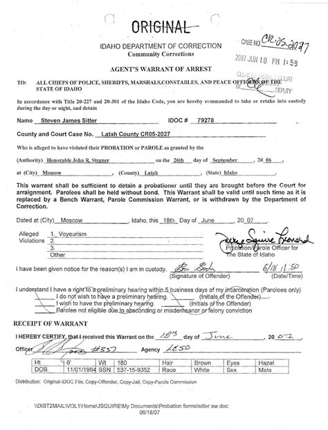 bench warrant for arrest in the district court of the second judicial district of the state of idaho