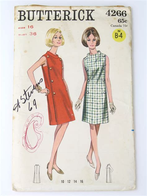 pattern envelope front and back 1960 s retro sewing pattern mid 60s butterick pattern no