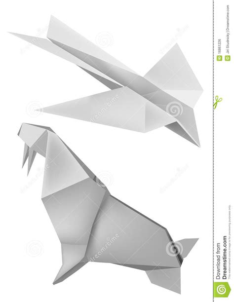 Walrus Origami - origami walrus airoplane royalty free stock image image