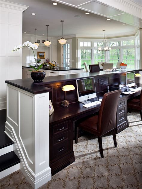 family home office desk in family room traditional home office