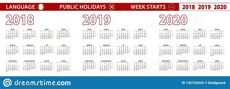 year vector calendar  irish language week starts  sunday stock vector