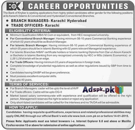 Bank In Hyderabad For Mba by Open In Bank Of Khyber Karachi Hyderabad For Branch