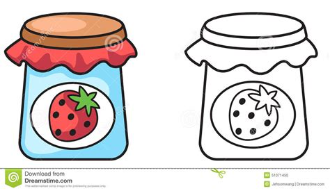 Colorful And Black And White Jam For Coloring Book Stock