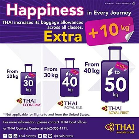 ua international baggage policy extra 10 kilo baggage allowance for passengers flying thai