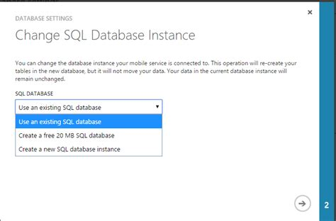 change nvram database file azure mobile services how to change the database