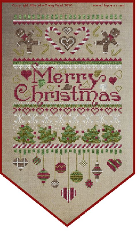 patterns christmas banners filigram merry christmas banner cross stitch pattern