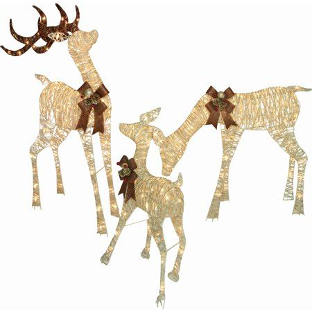 walmart decorative deer outdoor time decor set of 3 woodland look deer family 48 quot buck 36 quot doe 28 quot fawn