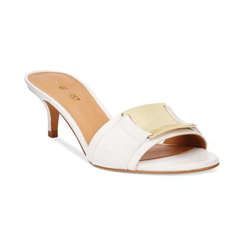 white slide sandals nine west yacht slide sandals in white lyst