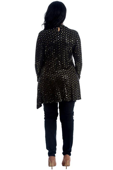 Foil Tunic new womens top plus size swing style polka dot foil