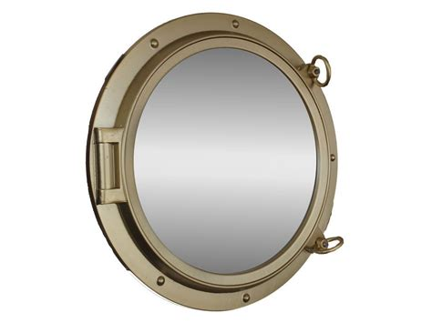 buy gold finish porthole mirror 24 inch nautical - Porthole Mirror